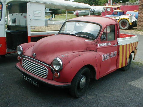 Morris Minor pickup in Dan Air colours