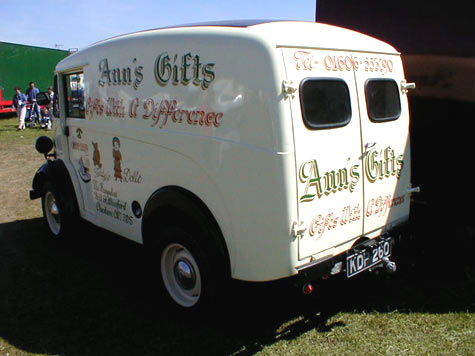 Morris J Type van from the back